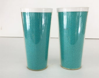 Vintage Thermo Temp Raffiaware Tumblers White Inside with Aqua Blue Burlap Inside Clear Plastic Retro 1960s