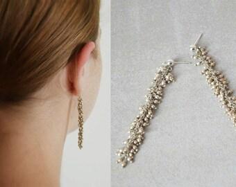 Silver earrings, Dangle earrings silver, Long silver studs, Silver Dangle Earrings, Statement earrings, Long chain earrings, Drop earrings