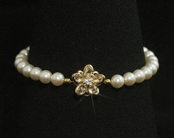 Pearl Wedding Bracelet, Gold Crystal Bridal Jewelry, Rhinestone Pearl Bridesmaid Bracelet -- OLIVIA