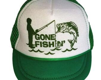 Gone Fishin Fishing  Baby Sized Mesh Trucker Hat Cap Newborn