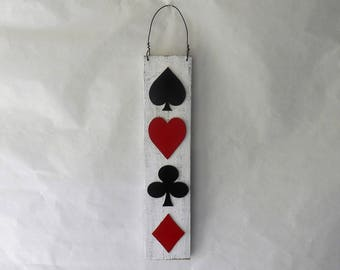 Card Suits Metal Art Wall Decoration Reclaimed Pallet Wood Poker Bridge Spades Hearts Clubs Diamonds