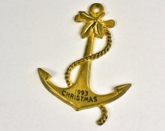 Vintage,Christmas ornament,Christmas Ahoy,1993,Hanging Ornament,Anchor, Brass,American Greetings,Brass Ornament,Metal Ornament