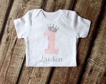First Birthday Outfit, 1st Birthday Shirt, First Birthday Onesie, Personalized, Princess Crown, Girls SILVER Pink Princess, 2nd Birthday