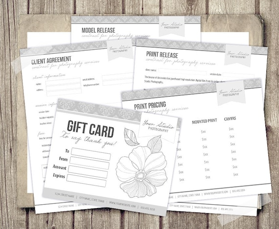 Photography templates business forms agreement print and model photography templates business forms agreement print and model release pricing and gift card templates deluxe instant download from studiotwentynine accmission Gallery