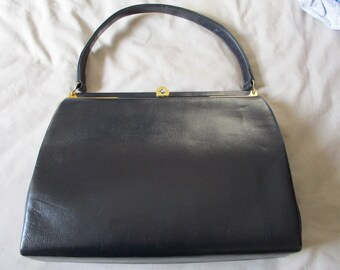 Vintage 1960's Navy Blue Kelly Handbag, BAGCRAFT, By Appt To HM The Queen