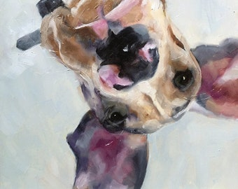 """Great Dane dog portrait original 8""""square oil painting one-of-a-kind """"A New Perspective"""""""