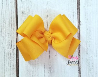 Big Mustard Yellow Bow, Double Stacked Bow, Stacked Bow, Boutique Bow, Large Bow, Barrettes and Clips, Hair Bows, Big Hair Bow, Yellow Bow