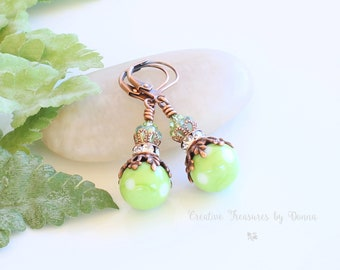 Green Copper Earrings, Lime Green Polka Dot Lampwork Beads, Swarovski Crystals, Czech Glass Bell Flowers, Rhinestone Spacers, Retro Earrings