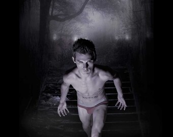 Gotcha Gay Art Male Art Photo Print by Michael Taggart Photography Halloween shirtless underwear ghost ghostly haunted spooky evil wicked