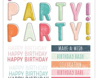 Pink Paislee Birthday Bash Rub Ons  -- MSRP 3.00