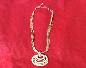 Vintage VCLM Silver and Gold Tone Fashion Necklace
