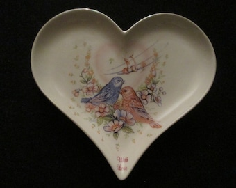 "Ring Holder-The Love Birds Ceramic Hear ring dish.. Beautiful Rin dish & Trinket Dish-  ""With Love"""