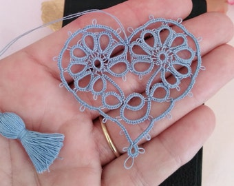 GENTLE & TRUE  Heart Tatted Flower Bookmark with Tassel Vintage Tatting Thread  Valentine