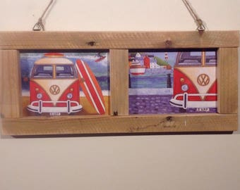 Upcycled VW Vaultswagon beach surfing postcard picture frame