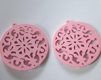 prints 2 openwork wood, 53 mm purple round wood beads