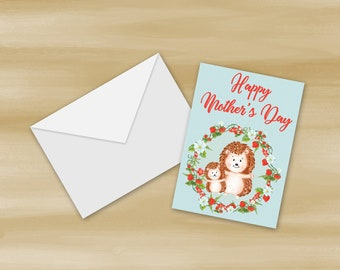Watercolor Hedgehog Mother's Day Card Printable (Digital File Only)