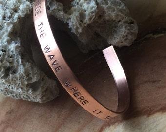 Copper cuff custom word bracelet custom quote jewelry pearl jam jewelry personalized cuff bracelet custom silver bracelet word bracelet