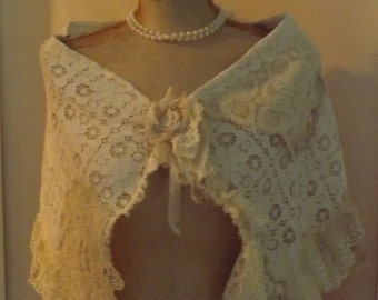 Shabby Couture Up-cycled Shrug OOAK   Beach Wrap Barn Wedding   Ready To Ship