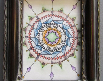 "Mandala - Original Artwork - 5"" x 6"" framed"