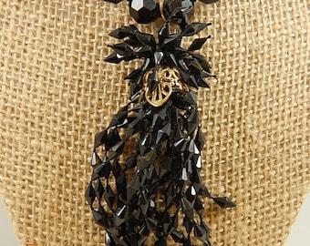 Black Lucite Beaded Lariat Necklace