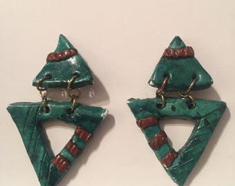 80s Triangle Dangle Earrings // Green and Brown 80s Clip Ons