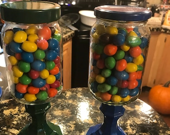 Homemade candy jars.