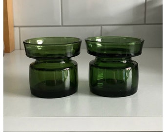 Pair of Dansk Designs Green Glass Candle Holder.  Designed by Jens Quistgaard.