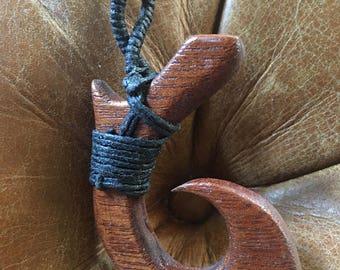 Wooden Hawaiian fish hook necklace