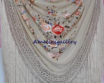 Hand embroidered spanish silk wedding bridal flamenco piano shawl, party evening dance wear, mantone wrap