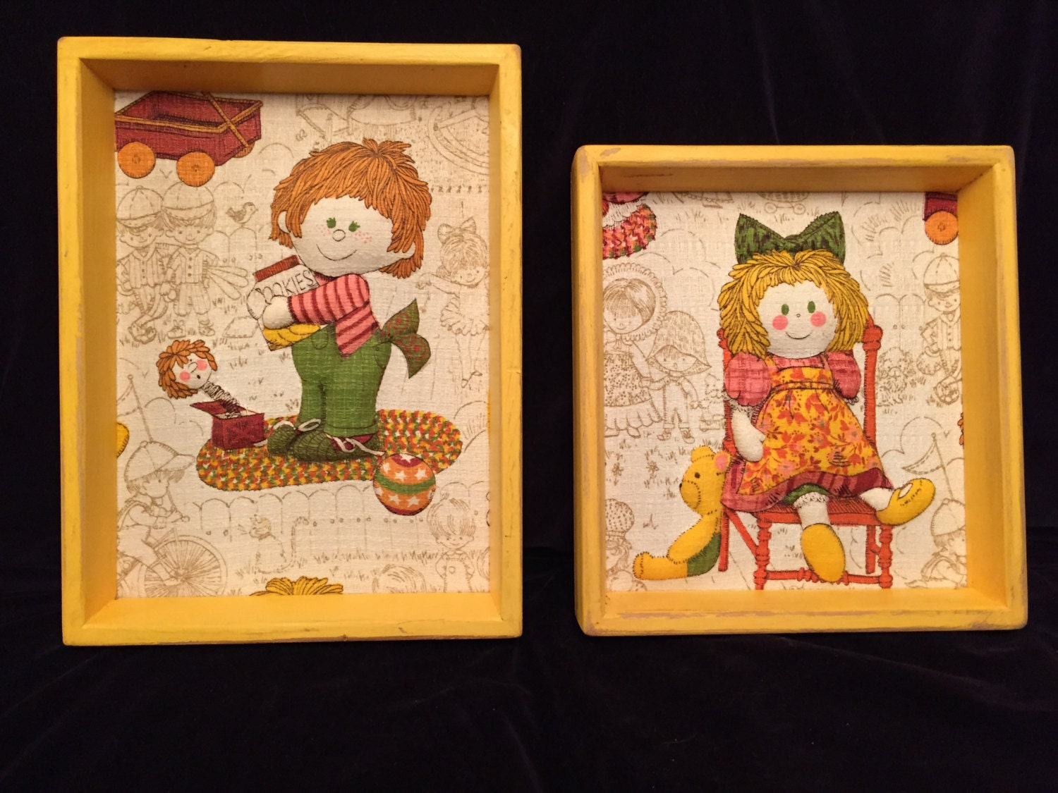 Vintage Folk Art Wall Picture Quilted Framed Boy Girl Puffy