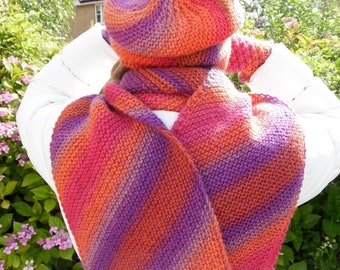 Orange, pink and purple multicoloured knitted  hat / beanie, scarf and fingerless gloves set, 100% wool, perfect gift for her, feltable