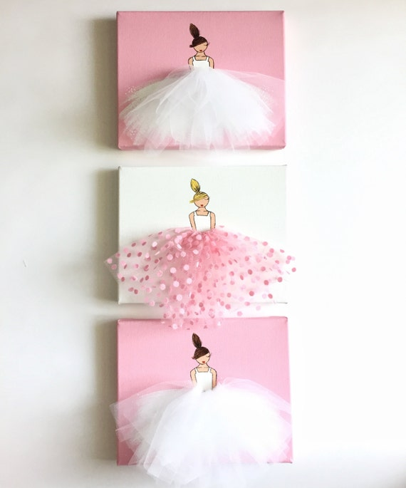 Nursery Wall Decor, Kids Decor, Pink Wall Art, Ballerina Art (Pink Polkadot  Tulle)