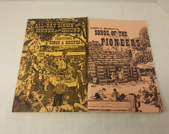 Song Book Set - Songs of the Pioneers and All-Day Singin' and Dinner on the Ground - Pioneer songbooks, by Albert E. Brumley 1970s