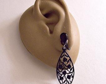 Black Flower Disc Clip On Earrings Silver Tone Vintage Extra Long Flat Open Rib Accent Dangle Discs Teardrop Top Button