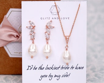 Rose Gold Whimsical Cubic Zirconia Earrings with Swarovski Pearl drop, Bridal, Brides Bridesmaids, jewelry, fairy tale, wedding, E39 N236