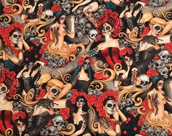 NEW and AMAZING!  Alexander Henry las elegantes Tattoos, Skulls & Roses Premium Cotton Fabric by the yard