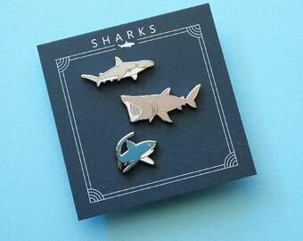 Shark trio pin set of 3 sharks, bonnethead shark, basking shark, thresher shark, enamel pins
