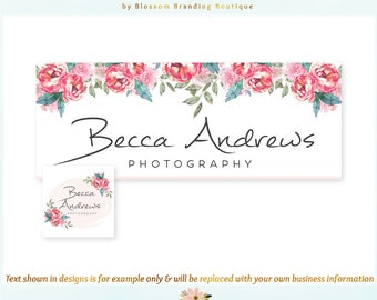 Floral Facebook Cover + Profile Image - Limited Edition! Coordinating Logo Available! Perfect for Boutique, Photographer + much more!