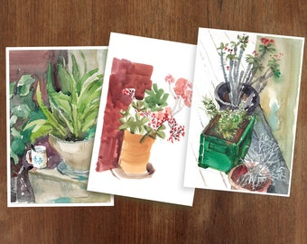 Set of 3 cards, floral blank cards, art cards, watercolor small prints, nature art postcards, green and beige cards, original art cards