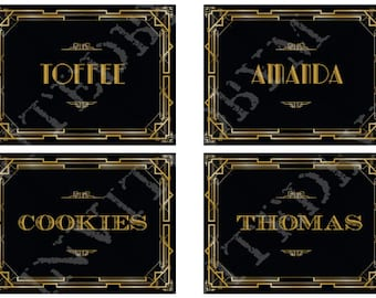 Great Gatsby Art Deco Label Place Cards