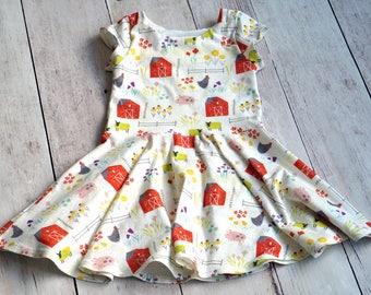 Farm Dress. Barnyard Dress. Baby Dress. Toddler Dress. Little Girl Dress. Twirl Dress. Twirly Dress. Play Dress. Comfy Dress.