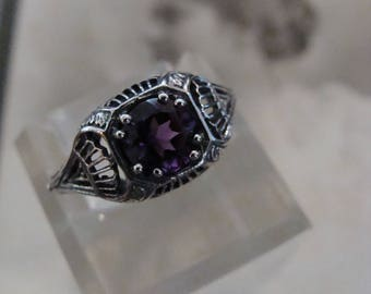 Charming Sterling Natural Amethyst Filigree Ring Size 6.5