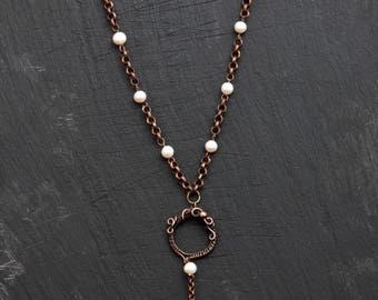 copper and fresh water pearls necklace