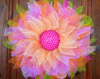Deco Mesh Flower Door Wreath, Wall & House Decor