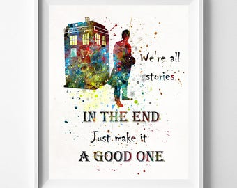 Doctor Who, Dr Who Art, Doctor Who Print, Tardis Print, Tardis Decor, Tardis Wall Art, Dr Who Watercolor, Watercolor Art, Mothers Day Gift