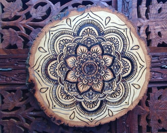"8"" Wood Burned Mandala Slice - Handmade Wall Hanging, Sacred Geometry Art, Bohemian Wall Art"