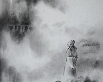 Chinese landscape painting. Buddha Mountain and Poet. Original sumi-e painting. Zen style.