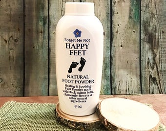 Happy Feet Natural Foot Powder. Athletes Feet, Stinky Feet, Itchy Feet Talc-Free All-Natural 8oz