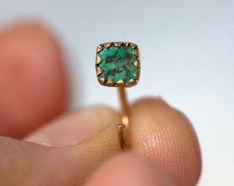 Gold earrings with Turquoise – Gold vermeil  studs – Minimal earrings for every day – Turquoise earrings