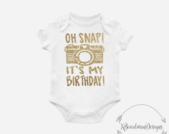 Oh Snap Its My Birthday Camera Grey Black One Piece Bodysuit Creeper, Unisex Kid's Clothing, Baby, Funny, White, Cute, Glitter. Toddler
